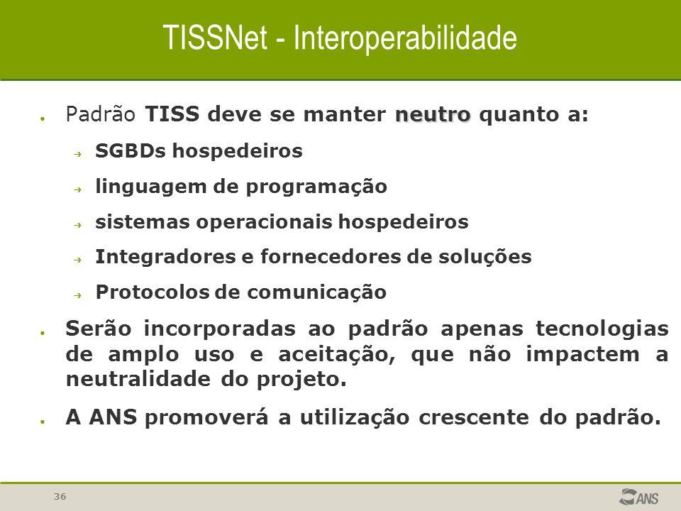 36 TISSNet - Interoperabilidade neutro ● Padrão TISS deve se manter neutro quanto a: ➔ SGBDs hospedeiros ➔ linguagem de programação ➔ sistemas operaci