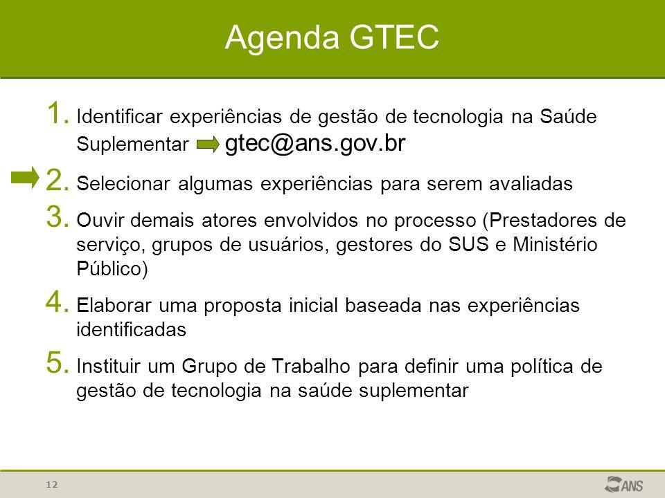 12 Agenda GTEC 1. Identificar experiências de gestão de tecnologia na Saúde Suplementar gtec@ans.gov.br 2. Selecionar algumas experiências para serem