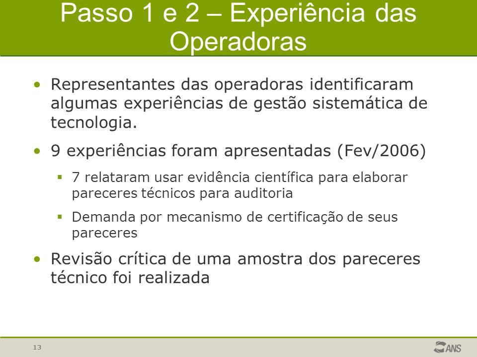 13 Passo 1 e 2 – Experiência das Operadoras Representantes das operadoras identificaram algumas experiências de gestão sistemática de tecnologia. 9 ex