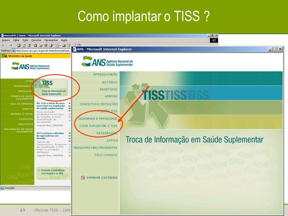 Oficinas TISS - 200623 Como implantar o TISS ?