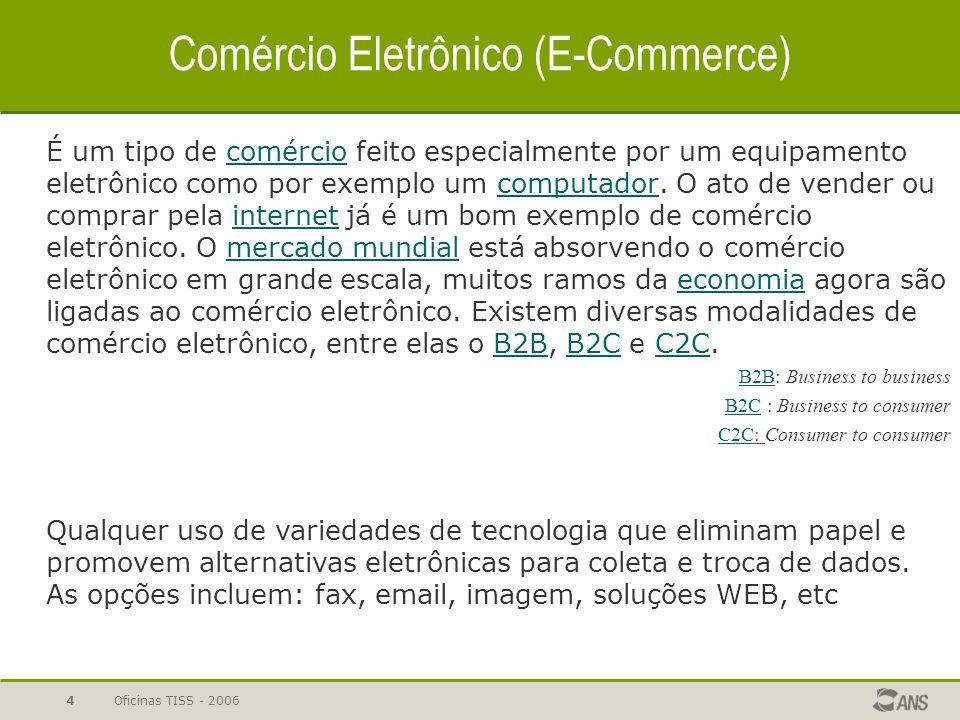 Oficinas TISS - 20064 Comércio Eletrônico (E-Commerce) É um tipo de comércio feito especialmente por um equipamento eletrônico como por exemplo um com