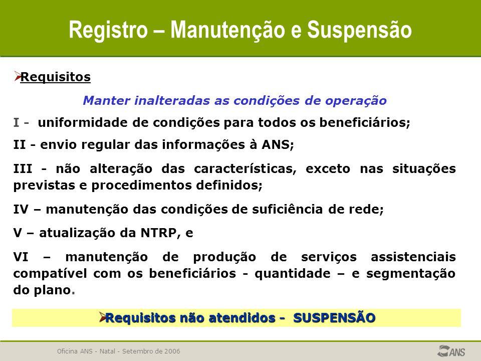 Oficina ANS - Natal - Setembro de 2006 Registro – Manutenção e Suspensão  Requisitos Manter inalteradas as condições de operação I - uniformidade de