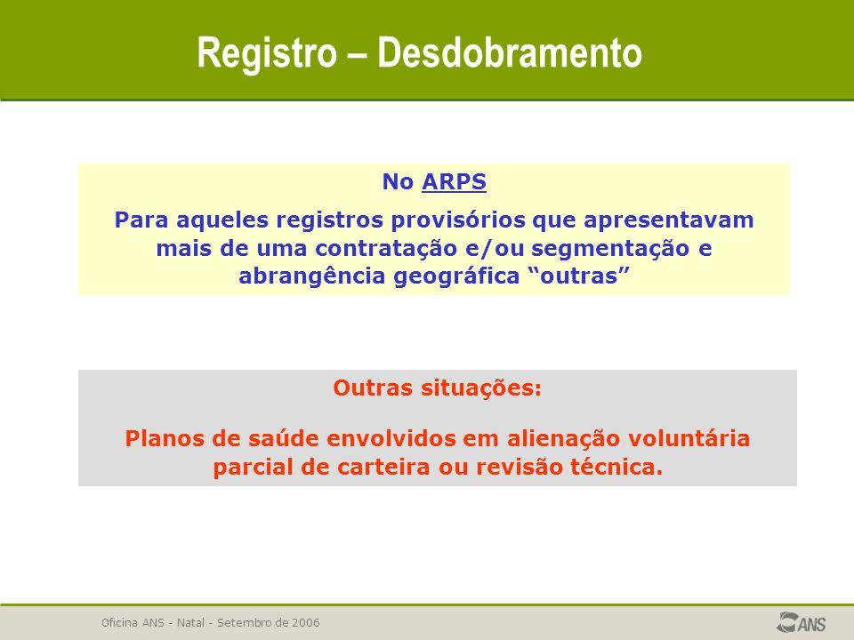 Oficina ANS - Natal - Setembro de 2006 Registro – Desdobramento No ARPS Para aqueles registros provisórios que apresentavam mais de uma contratação e/