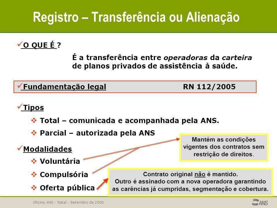 Oficina ANS - Natal - Setembro de 2006 Registro – Transferência ou Alienação O QUE É ? É a transferência entre operadoras da carteira de planos privad