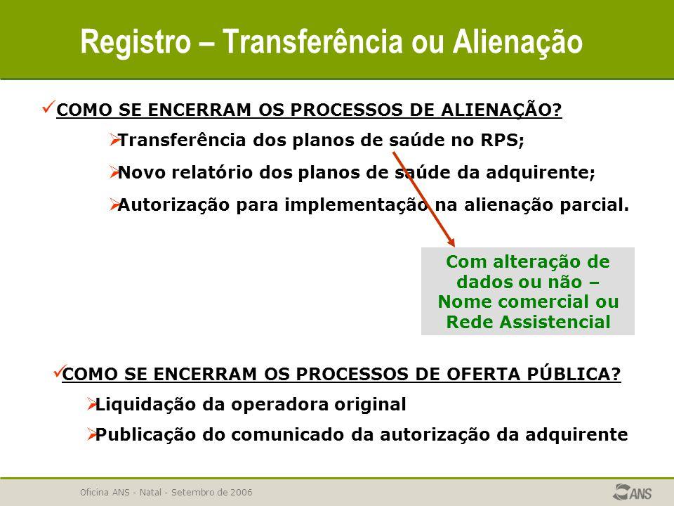 Oficina ANS - Natal - Setembro de 2006 Registro – Transferência ou Alienação COMO SE ENCERRAM OS PROCESSOS DE ALIENAÇÃO?  Transferência dos planos de