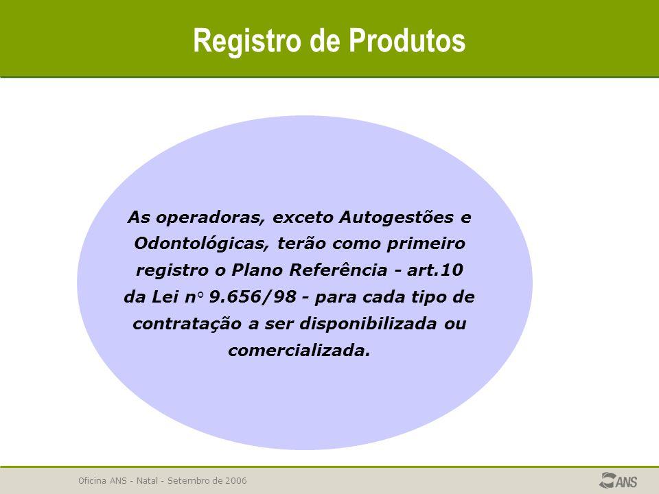Oficina ANS - Natal - Setembro de 2006 Registro de Produtos As operadoras, exceto Autogestões e Odontológicas, terão como primeiro registro o Plano Re