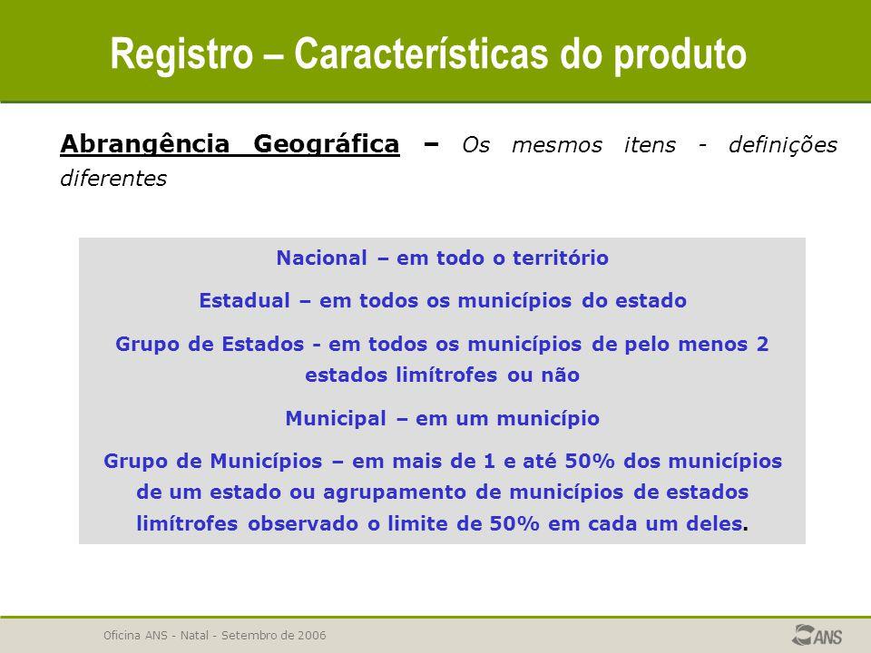 Oficina ANS - Natal - Setembro de 2006 Registro – Características do produto Abrangência Geográfica – Os mesmos itens - definições diferentes Nacional