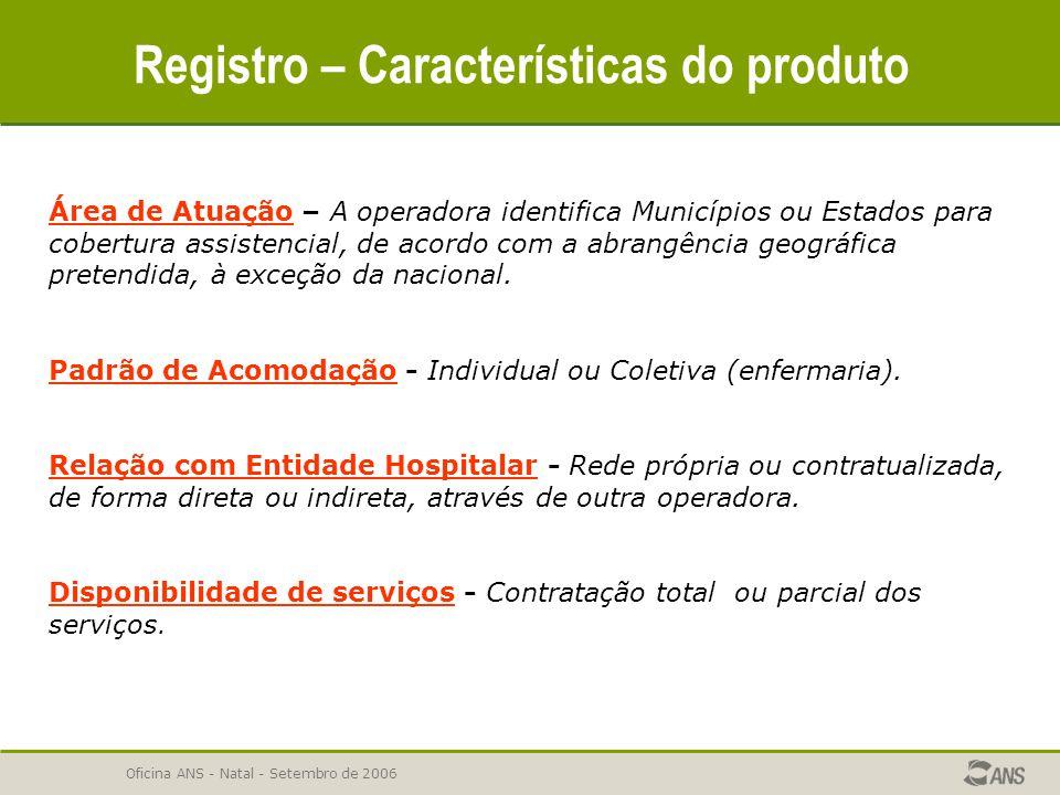 Oficina ANS - Natal - Setembro de 2006 Registro – Características do produto Área de Atuação – A operadora identifica Municípios ou Estados para cober