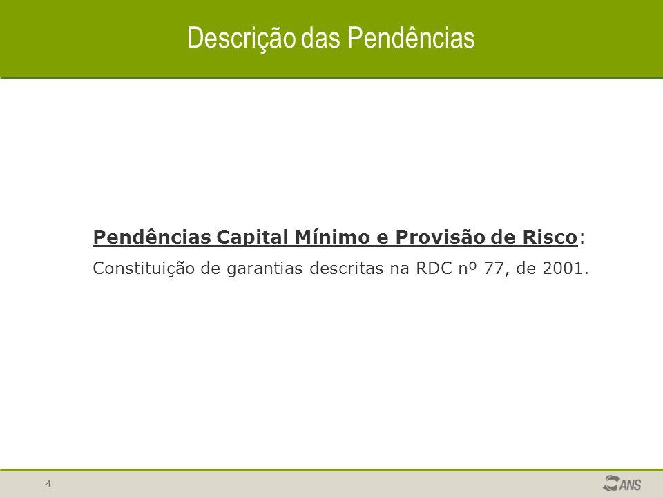3 Tipos de Pendências  Pendência Capital Mínimo e Provisão de Risco  Pendências Econômica Documental  Pendências Administrativas