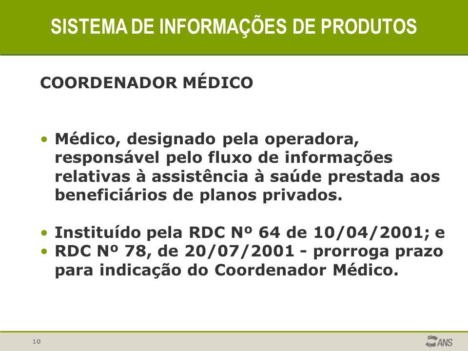 10 SISTEMA DE INFORMAÇÕES DE PRODUTOS COORDENADOR MÉDICO Médico, designado pela operadora, responsável pelo fluxo de informações relativas à assistênc