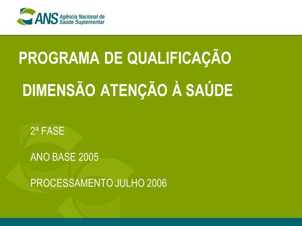 PROGRAMA DE QUALIFICAÇÃO DIMENSÃO ATENÇÃO À SAÚDE 2ª FASE ANO BASE 2005 PROCESSAMENTO JULHO 2006