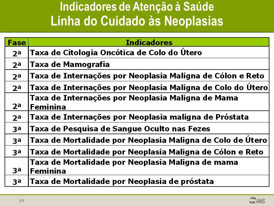 24 Indicadores de Atenção à Saúde Linha do Cuidado às Neoplasias