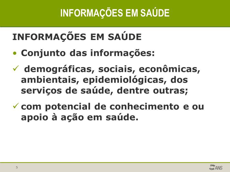 5 INFORMAÇÕES EM SAÚDE Conjunto das informações: demográficas, sociais, econômicas, ambientais, epidemiológicas, dos serviços de saúde, dentre outras;