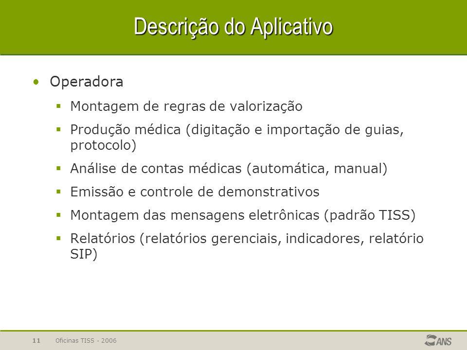 Oficinas TISS - 200611 Descrição do Aplicativo Operadora  Montagem de regras de valorização  Produção médica (digitação e importação de guias, proto