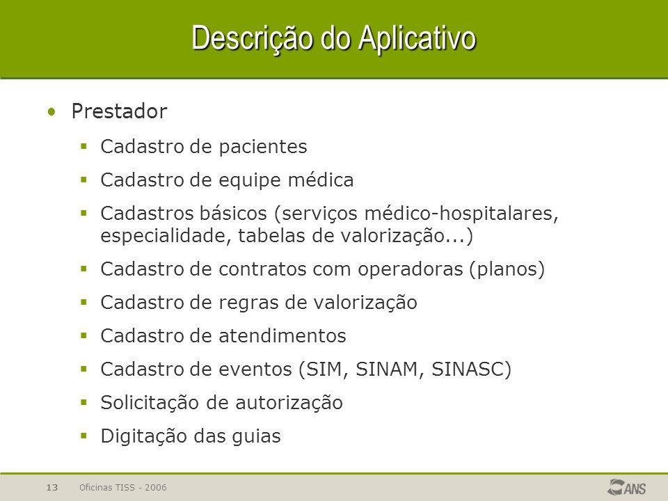 Oficinas TISS - 200613 Descrição do Aplicativo Prestador  Cadastro de pacientes  Cadastro de equipe médica  Cadastros básicos (serviços médico-hosp