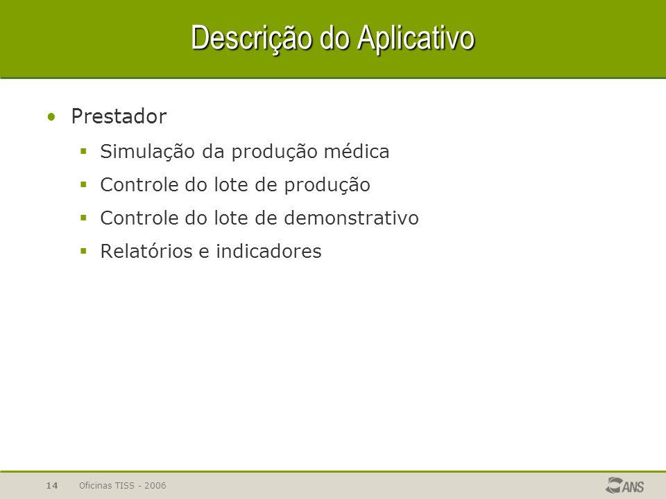 Oficinas TISS - 200614 Descrição do Aplicativo Prestador  Simulação da produção médica  Controle do lote de produção  Controle do lote de demonstra