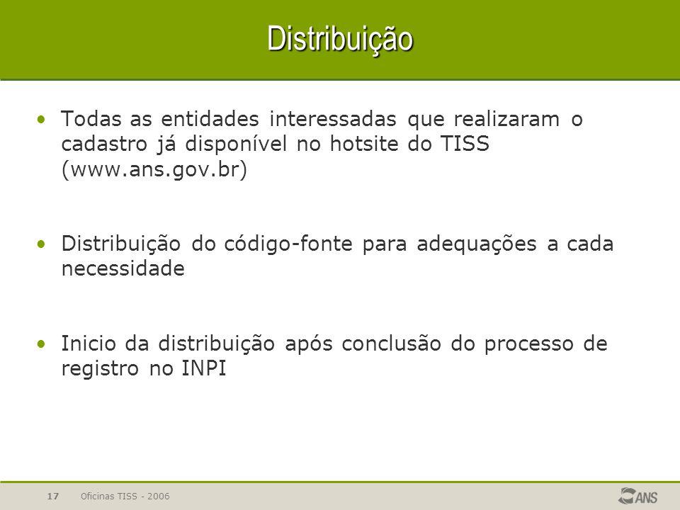 Oficinas TISS - 200617 Distribuição Todas as entidades interessadas que realizaram o cadastro já disponível no hotsite do TISS (www.ans.gov.br) Distri