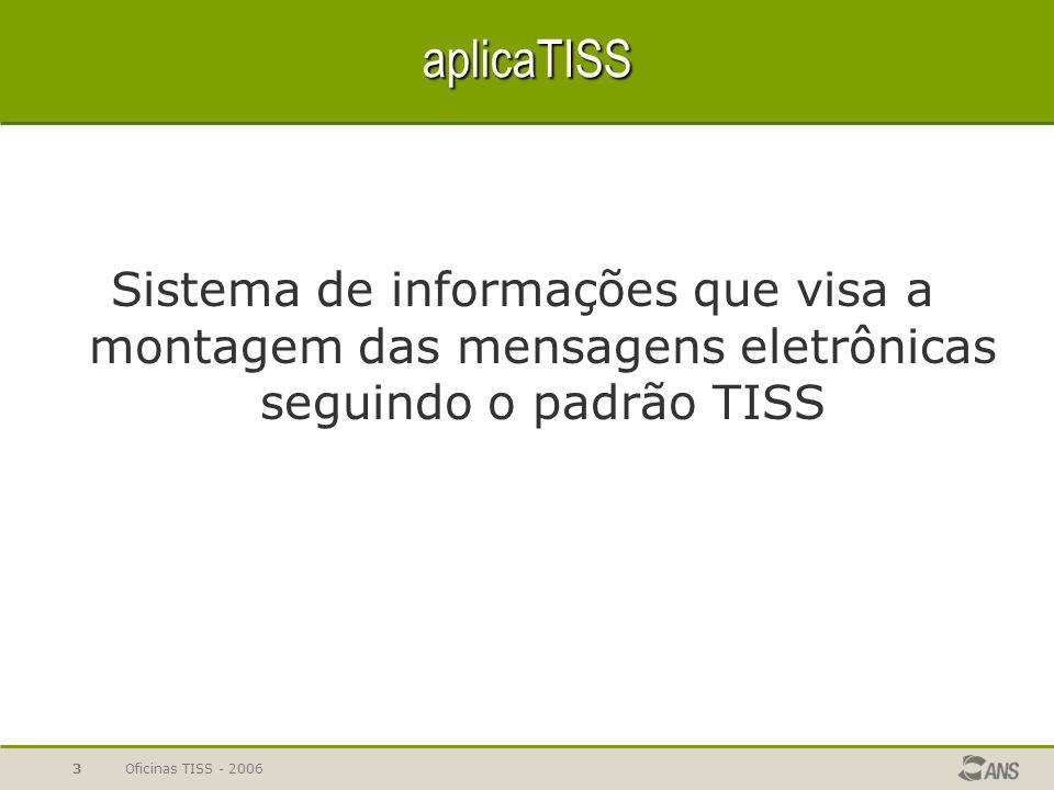 Oficinas TISS - 20063 aplicaTISS Sistema de informações que visa a montagem das mensagens eletrônicas seguindo o padrão TISS