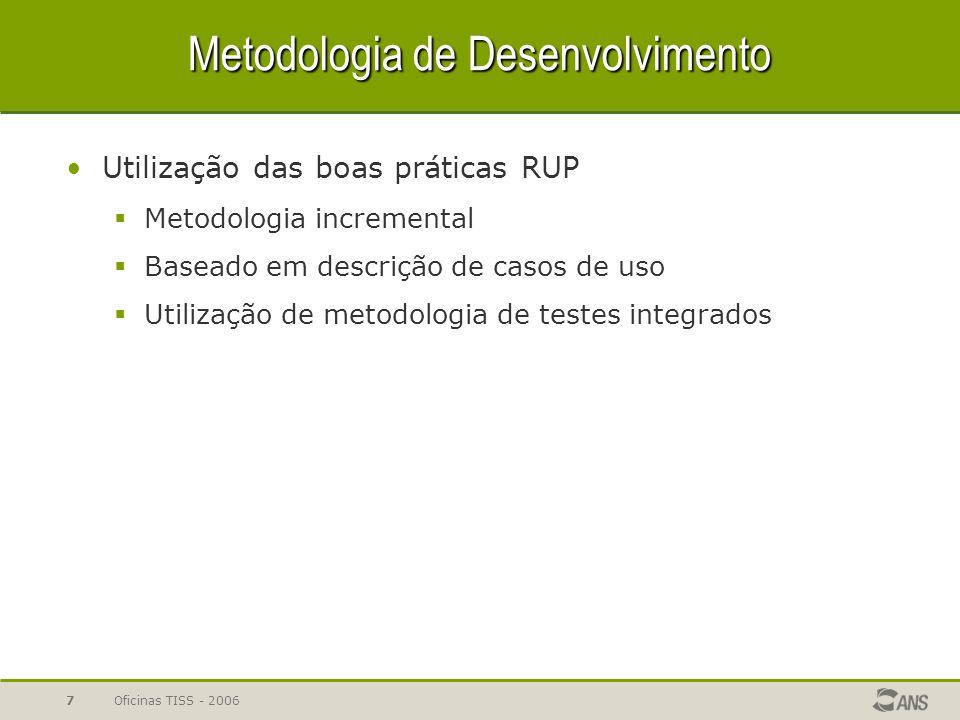 Oficinas TISS - 20067 Metodologia de Desenvolvimento Utilização das boas práticas RUP  Metodologia incremental  Baseado em descrição de casos de uso