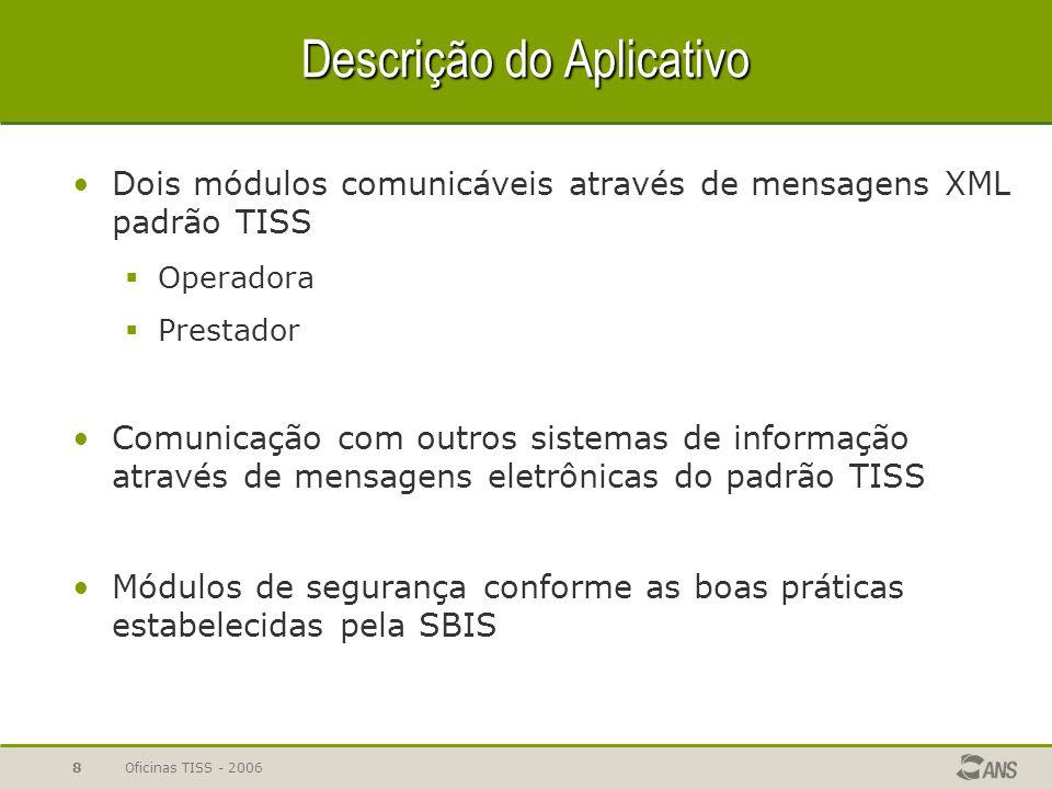 Oficinas TISS - 20068 Descrição do Aplicativo Dois módulos comunicáveis através de mensagens XML padrão TISS  Operadora  Prestador Comunicação com o