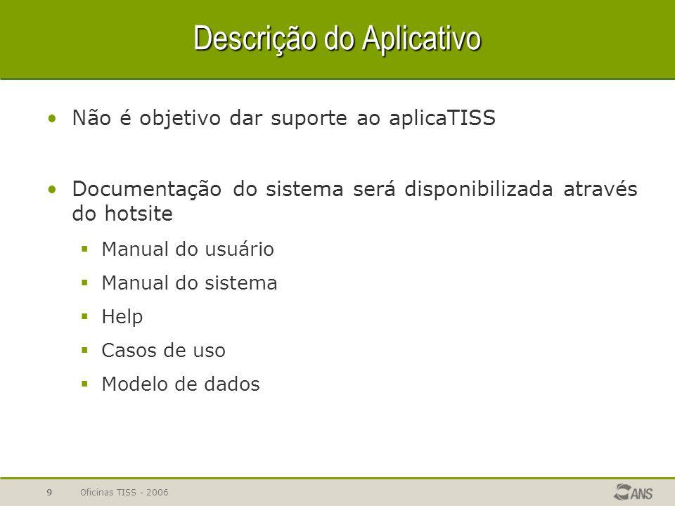 Oficinas TISS - 20069 Descrição do Aplicativo Não é objetivo dar suporte ao aplicaTISS Documentação do sistema será disponibilizada através do hotsite