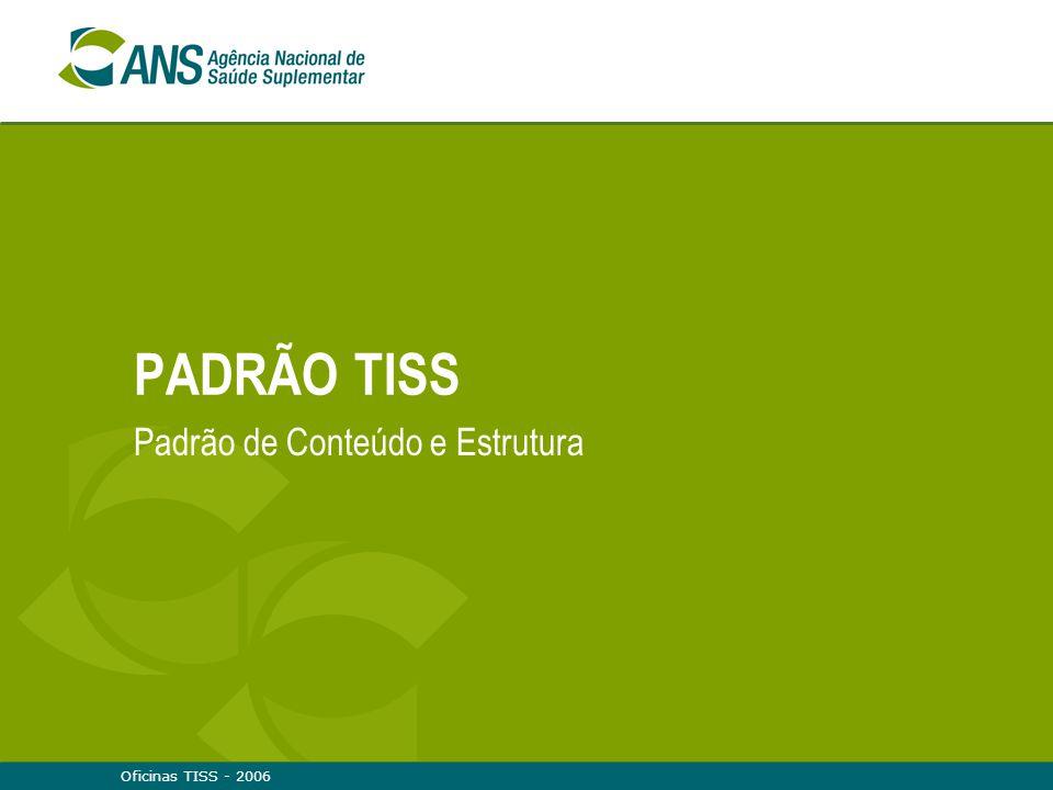 Oficinas TISS - 200632 Indicadores Indicadores são critérios para julgar e comparar a adequação, benefícios, efeitos adversos, custos tecnológicos ou de serviços ou de programas de saúde, subsidiando a gerência e a administração  Precisam de padrão para serem construídos  Necessitam ser referentes (contextualizados) A integração com as bases nacionais de informações permite:  Estabelecer um conjunto de indicadores para o setor, parametrizados com os do SUS  Contribuir para a avaliação da qualidade em saúde, tanto para operadoras quanto para prestadores  Planejamento, política de prevenção de agravos