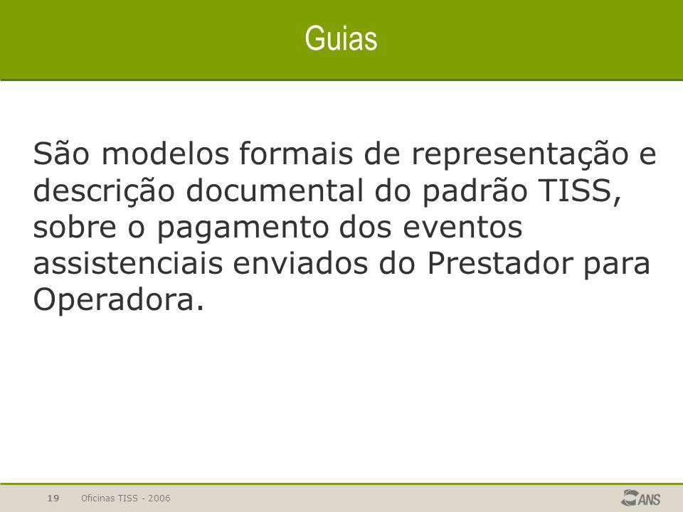 Oficinas TISS - 200619 Guias São modelos formais de representação e descrição documental do padrão TISS, sobre o pagamento dos eventos assistenciais e
