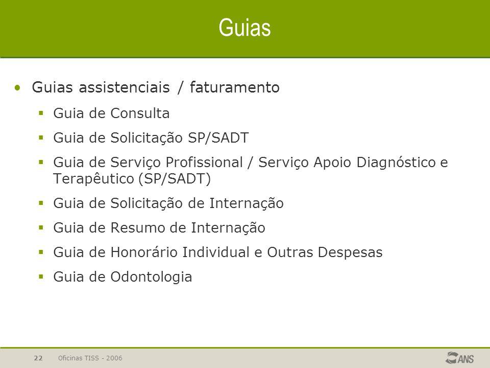 Oficinas TISS - 200622 Guias Guias assistenciais / faturamento  Guia de Consulta  Guia de Solicitação SP/SADT  Guia de Serviço Profissional / Servi