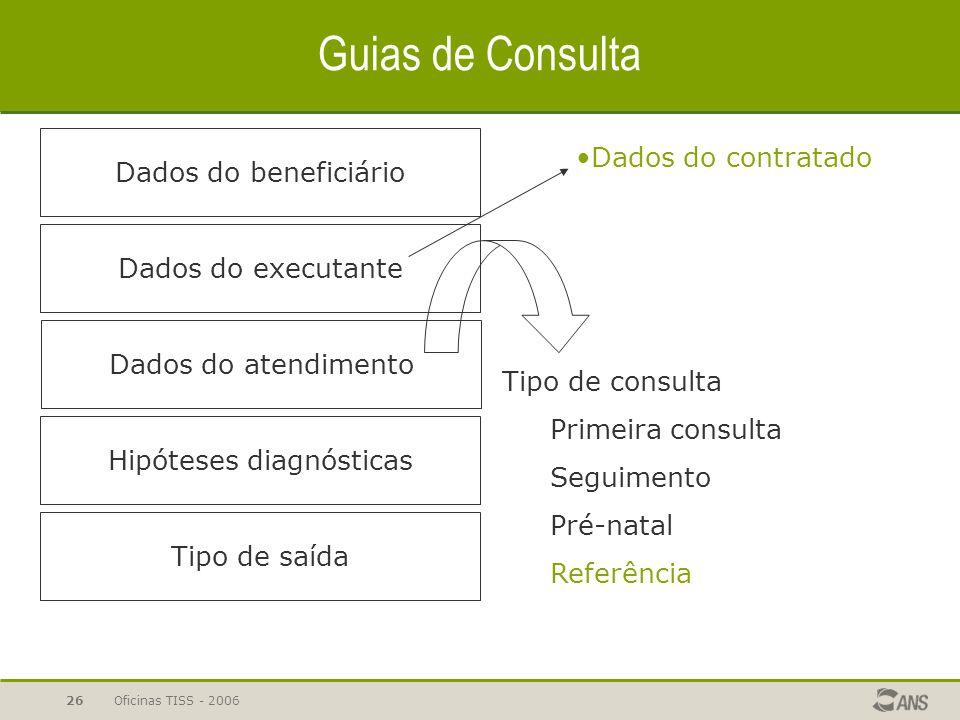 Oficinas TISS - 200626 Guias de Consulta Dados do beneficiário Dados do atendimento Dados do executante Hipóteses diagnósticas Tipo de saída Tipo de c
