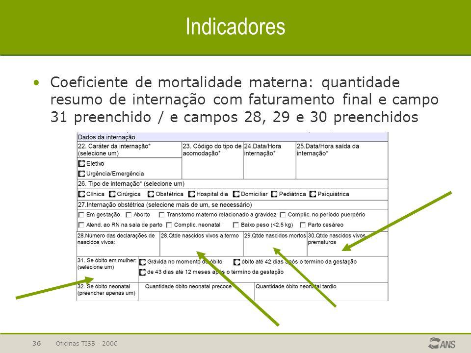 Oficinas TISS - 200636 Indicadores Coeficiente de mortalidade materna: quantidade resumo de internação com faturamento final e campo 31 preenchido / e