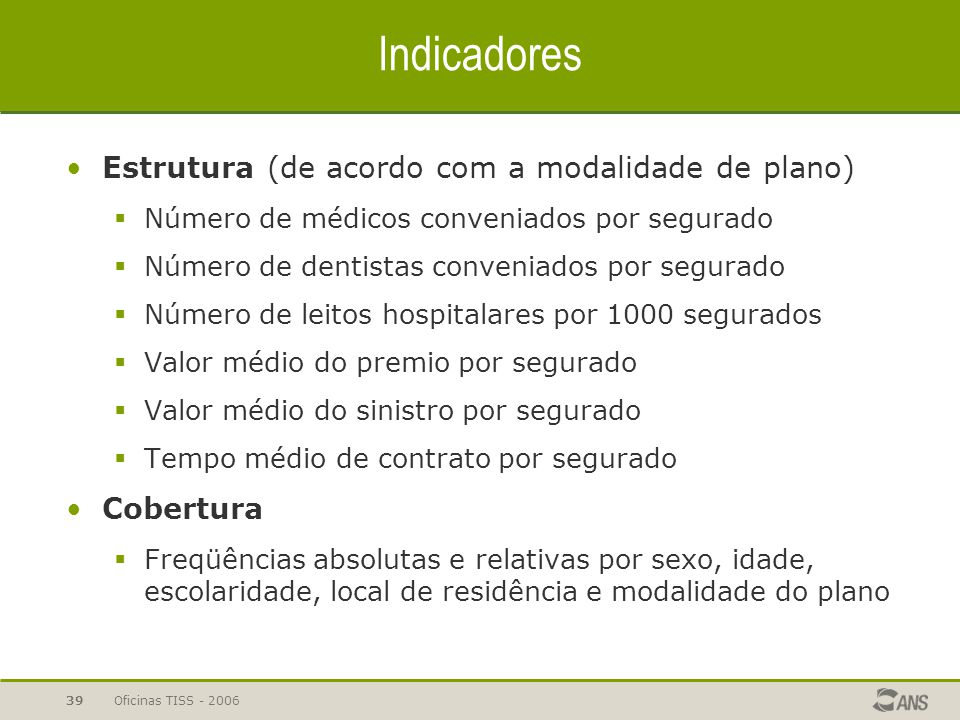 Oficinas TISS - 200639 Indicadores Estrutura (de acordo com a modalidade de plano)  Número de médicos conveniados por segurado  Número de dentistas