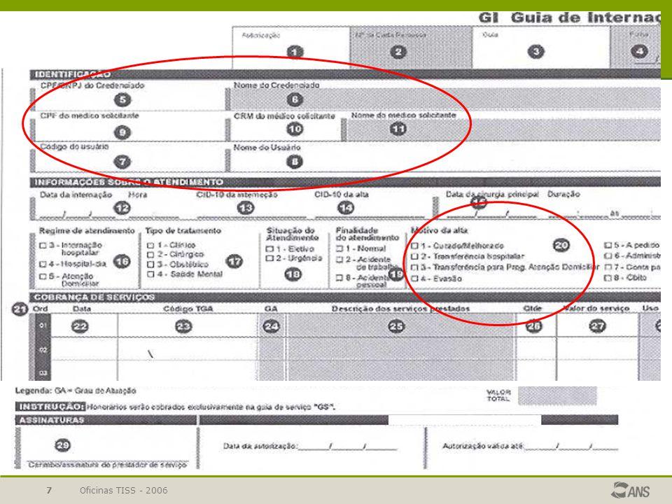 Oficinas TISS - 200628 Guias de Solicitação e Resumo de internação Dados do beneficiário Dados do prestador (contratado) solicitado Dados do contratado solicitante Dados da internação e hipóteses diagnósticas Procedimentos e OPMs solicitados Solicitação Execução Dados da autorização Dados do beneficiário Dados da internação Dados do prestador (contratado) executante Dados da saída da internação Dados para faturamento Dados da autorização Procedimentos, equipe e OPMs