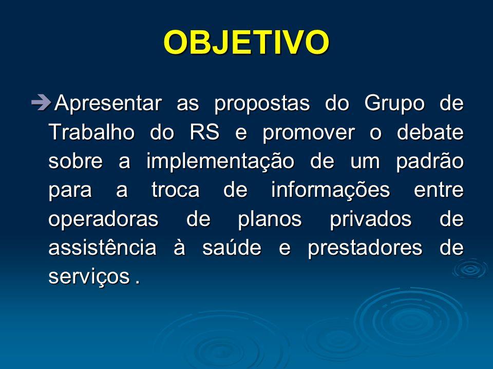 OBJETIVO  Apresentar as propostas do Grupo de Trabalho do RS e promover o debate sobre a implementação de um padrão para a troca de informações entre