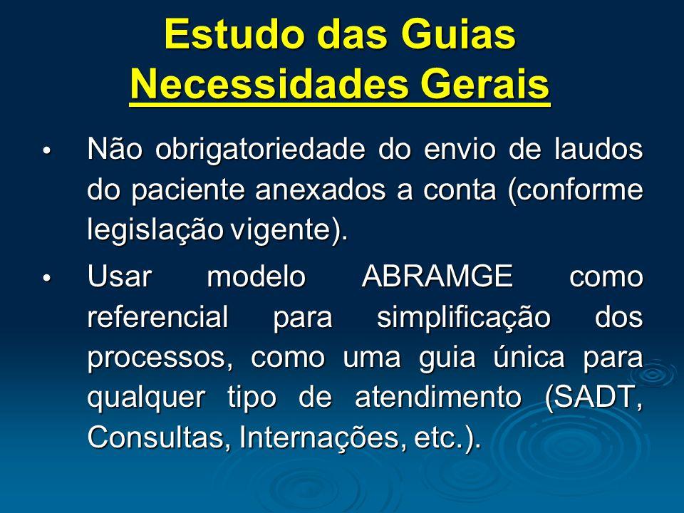  Não obrigatoriedade do envio de laudos do paciente anexados a conta (conforme legislação vigente).  Usar modelo ABRAMGE como referencial para simpl
