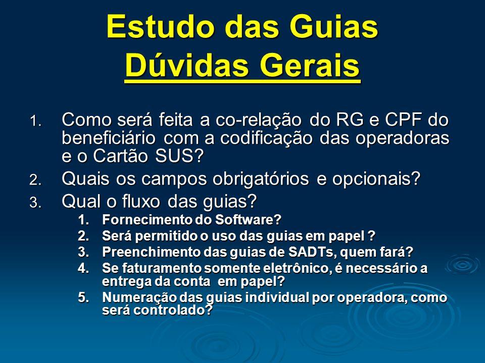 Estudo das Guias Dúvidas Gerais 1. Como será feita a co-relação do RG e CPF do beneficiário com a codificação das operadoras e o Cartão SUS? 2. Quais