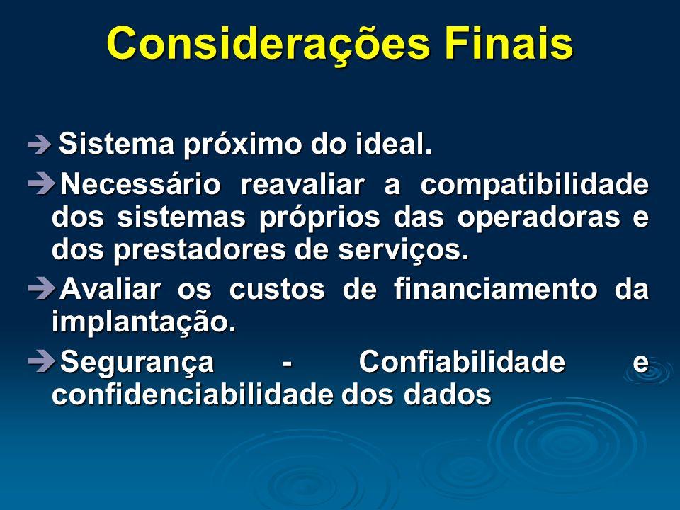 Considerações Finais  Sistema próximo do ideal.  Necessário reavaliar a compatibilidade dos sistemas próprios das operadoras e dos prestadores de se
