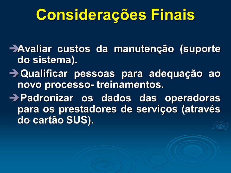 Considerações Finais  Avaliar custos da manutenção (suporte do sistema).  Qualificar pessoas para adequação ao novo processo- treinamentos.  Padron