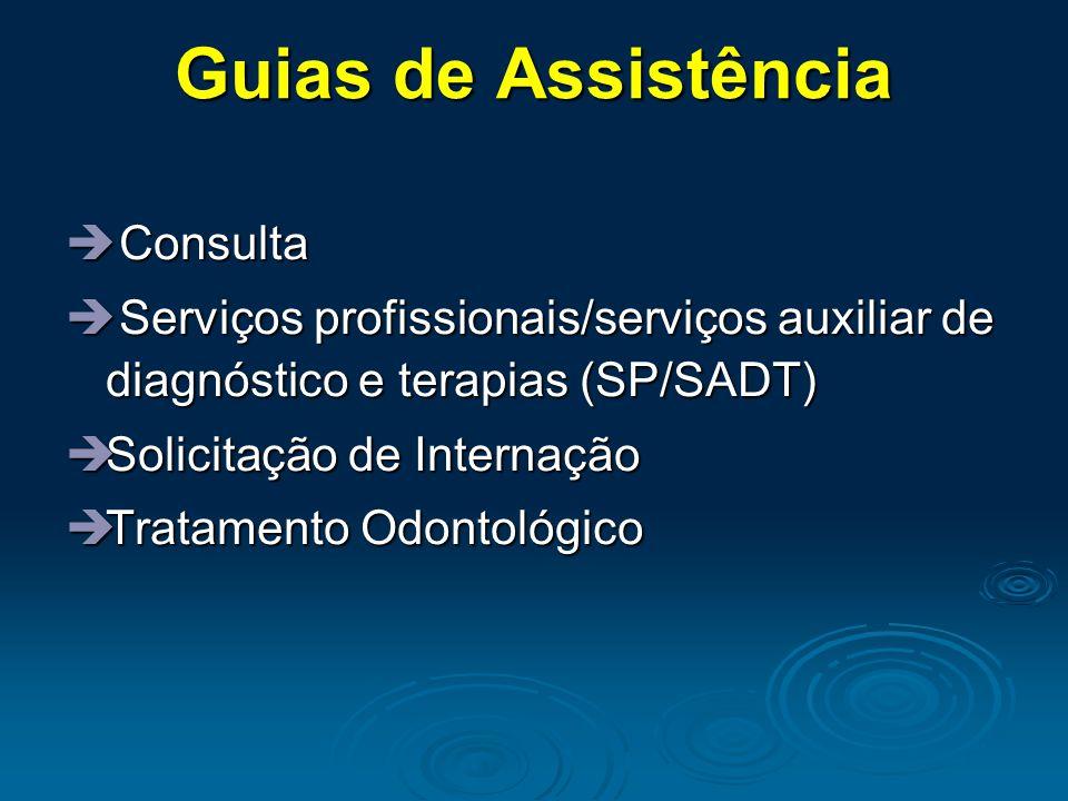Guias de Assistência  Consulta  Serviços profissionais/serviços auxiliar de diagnóstico e terapias (SP/SADT)  Solicitação de Internação  Tratament