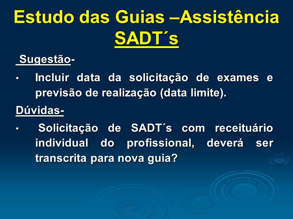 Estudo das Guias –Assistência SADT´s Sugestão- Sugestão- Incluir data da solicitação de exames e previsão de realização (data limite). Incluir data da