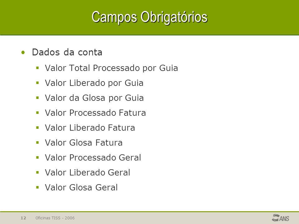 Oficinas TISS - 200612 Campos Obrigatórios Dados da conta  Valor Total Processado por Guia  Valor Liberado por Guia  Valor da Glosa por Guia  Valo