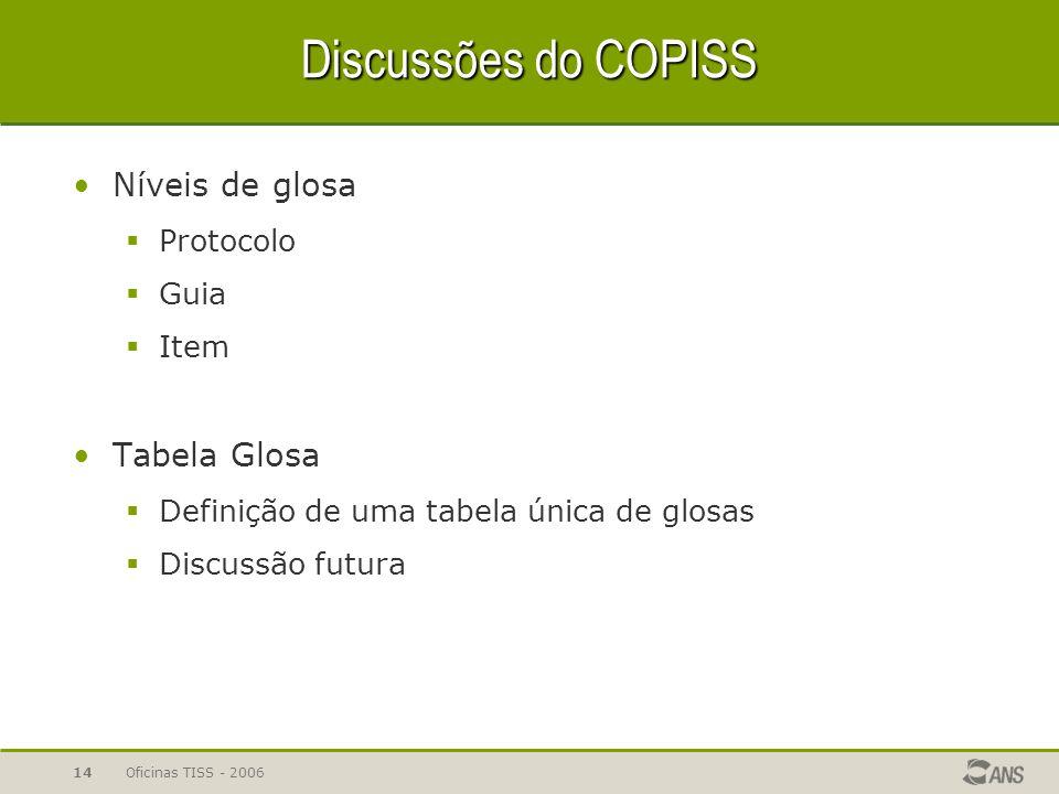Oficinas TISS - 200614 Discussões do COPISS Níveis de glosa  Protocolo  Guia  Item Tabela Glosa  Definição de uma tabela única de glosas  Discuss