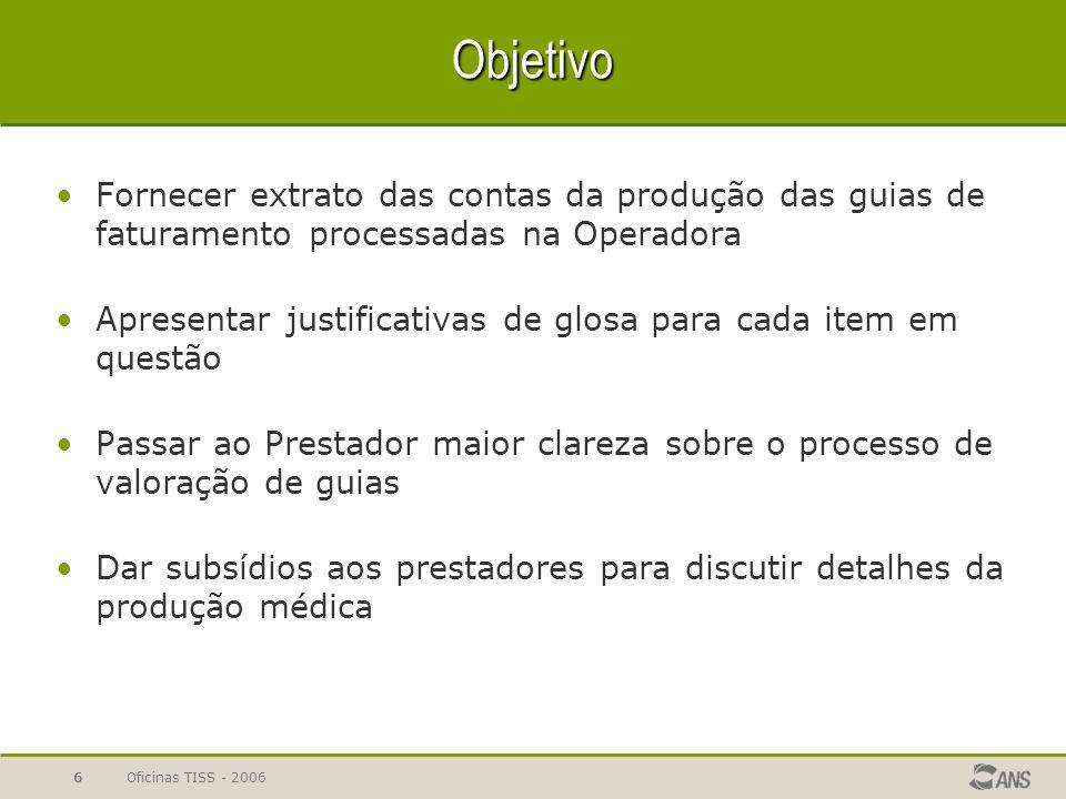 Oficinas TISS - 20066 Objetivo Fornecer extrato das contas da produção das guias de faturamento processadas na Operadora Apresentar justificativas de