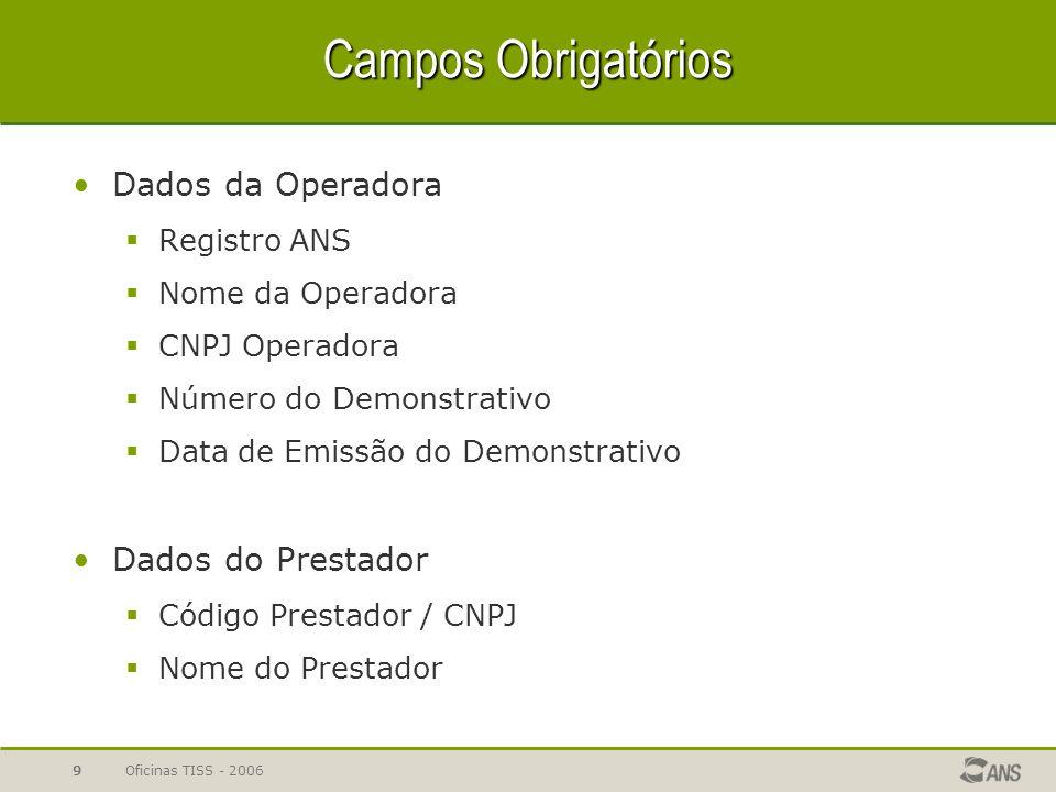 Oficinas TISS - 20069 Campos Obrigatórios Dados da Operadora  Registro ANS  Nome da Operadora  CNPJ Operadora  Número do Demonstrativo  Data de E