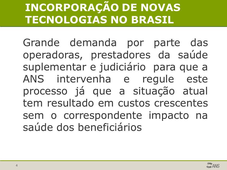 4 Grande demanda por parte das operadoras, prestadores da saúde suplementar e judiciário para que a ANS intervenha e regule este processo já que a sit