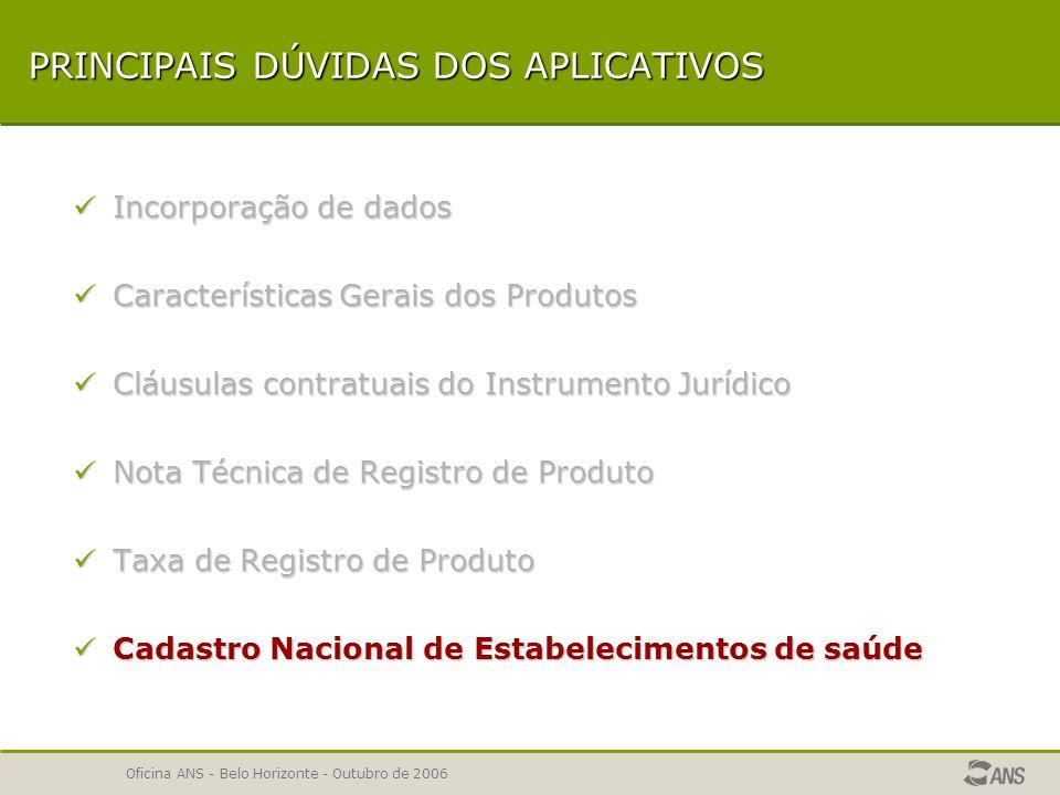 Oficina ANS - Belo Horizonte - Outubro de 2006 TAXA DE REGISTRO DE PRODUTO ERRO - A quantidade de planos selecionados é superior ao saldo em TRP disponível para envio no Demonstrativo de pagamentos efetuados.