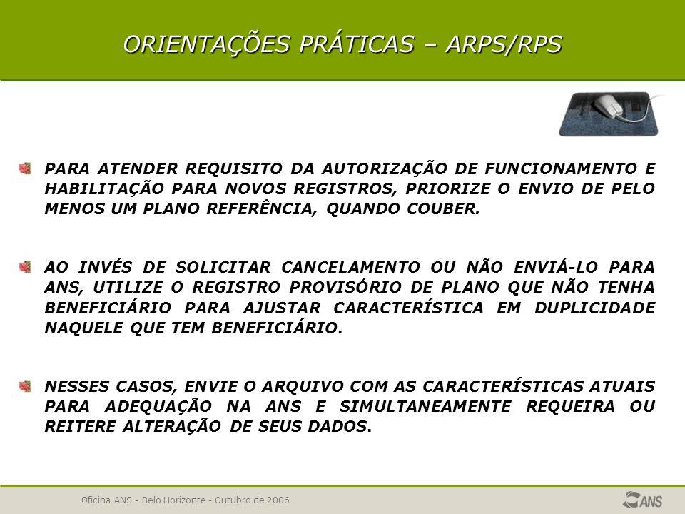 Oficina ANS - Belo Horizonte - Outubro de 2006 AÇÕES DA ANS REUNIÕES DE TRABALHO ORGANIZADAS PELAS ENTIDADES REPRESENTATIVAS DAS OPERADORAS ATUALIZAÇÃO DAS VERSÕES DOS APLICATIVOS A PARTIR DAS OBSERVAÇÕES DAS OPERADORAS CONSOLIDAÇÃO NA PÁGINA ANS DAS RESPOSTAS PARA AS PRINCIPAIS DÚVIDAS APRESENTADAS DISPONIBILIDADE PARA DISCUSSÃO PRELIMINAR DAS ORIENTAÇÕES PARA INSTRUMENTOS JURÍDICOS COM AS ENTIDADES REPRESENTATIVAS OU DIRETAMENTE COM AS OPERADORAS QUE JÁ ENVIARAM ARQUIVOS MENSAGEM ELETRÔNICA À TODAS OPERADORAS EM AGÔSTO/2005, ALERTANDO QUE O REGISTRO DE PRODUTO PARA AUTORIZAÇÃO DE FUNCIONAMENTO DEVE SER FEITO PELOS APLICATIVOS ARPS, RPS OU SCPA OFÍCIO CIRCULAR 2/DIPRO- ALERTANDO SOBRE SIB DE JULHO, CANCELAMENTO DE PRODUTOS E SUSPENSÃO DE COMERCIALIZAÇÃO