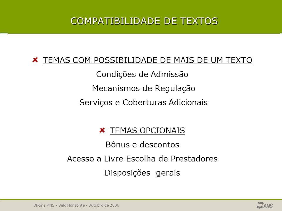 Oficina ANS - Belo Horizonte - Outubro de 2006 INSTRUMENTO JURÍDICO –temas obrigatórios em planos coletivos Regras para Instrumentos Jurídicos de Planos Coletivos Condições de Vínculo do Beneficiário – de acordo com o informado em dados gerais