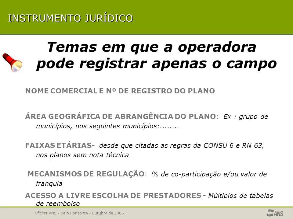 Oficina ANS - Belo Horizonte - Outubro de 2006 COMPATIBILIDADE DE TEXTOS TEMAS COM POSSIBILIDADE DE MAIS DE UM TEXTO Condições de Admissão Mecanismos de Regulação Serviços e Coberturas Adicionais TEMAS OPCIONAIS Bônus e descontos Acesso a Livre Escolha de Prestadores Disposições gerais