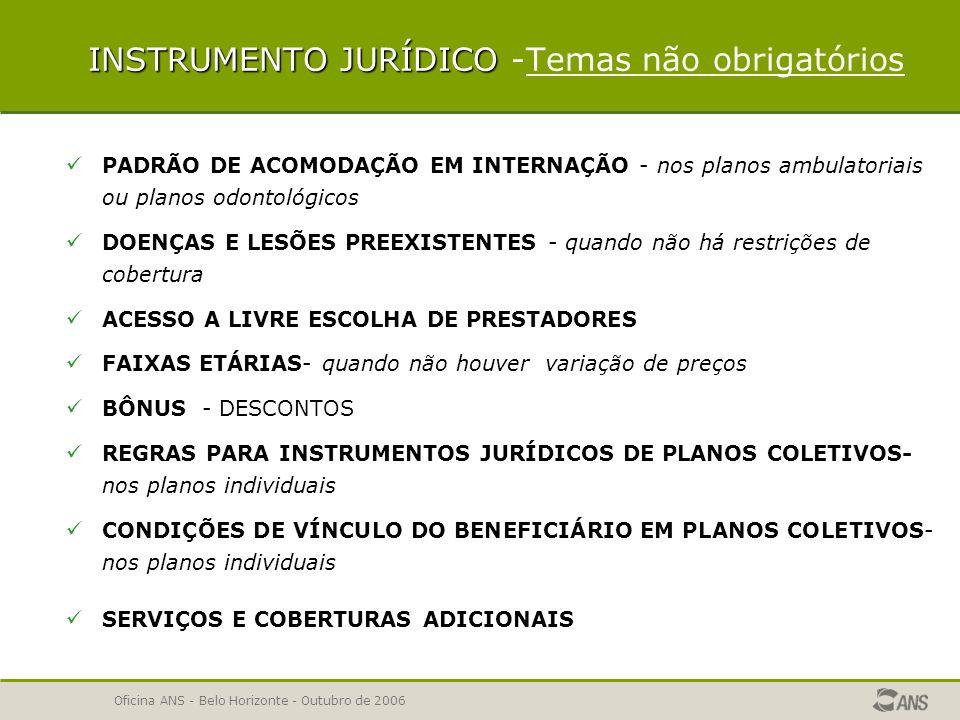 Oficina ANS - Belo Horizonte - Outubro de 2006 INSTRUMENTO JURÍDICO Temas em que a operadora pode registrar apenas o campo NOME COMERCIAL E Nº DE REGISTRO DO PLANO ÁREA GEOGRÁFICA DE ABRANGÊNCIA DO PLANO: Ex : grupo de municípios, nos seguintes municípios:........