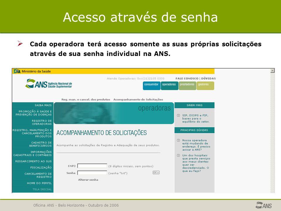 Oficina ANS - Belo Horizonte - Outubro de 2006 Como acessar o acompanhamento WEB  Na seção Registrar um Produto ou Adequar um produto , estará disponível o link Acompanhamento de Solicitações .